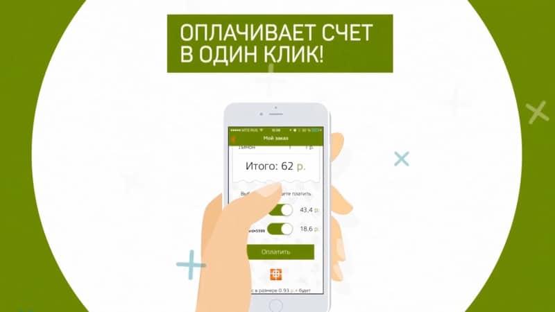 Оплата бонусами или картой через приложение
